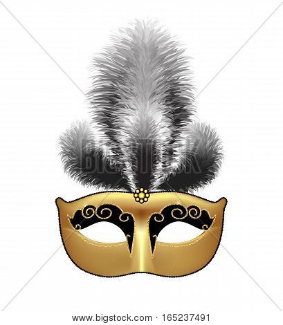 Golden mask with black feathers isolated on white background. Mardi Gras or Venetian masquerade festival. Vector Illustration.