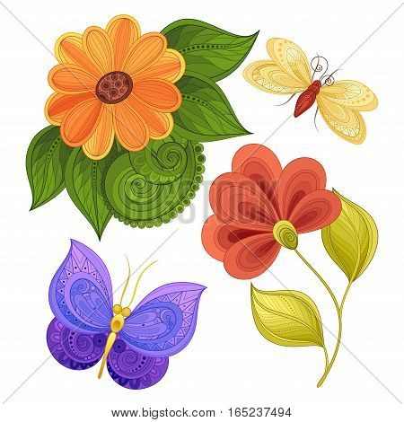 Vector Set Of Beautiful Floral Design Elements With Insects