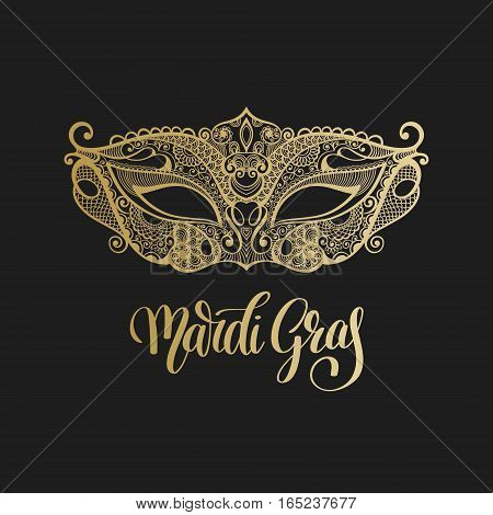 gold venetian carnival mask with hand lettering isolated on black background, calligraphy vector illustration