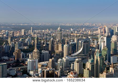 Aerial view Bangkok office building central business downtown with clear blue sky background
