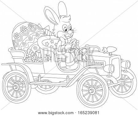 Easter Bunny driving his retro car with a big painted egg and gifts