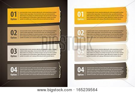 Set of infographics elements in the form of paper tape for various purposes. Vector illustration. Isolated on white and black background