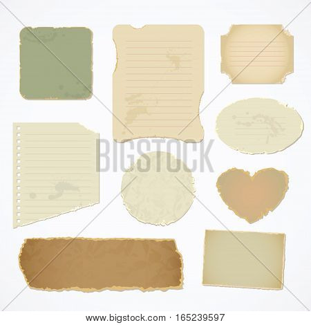 Torn paper with space for text. Vector illustration. Isolated on white background. Top view. Set