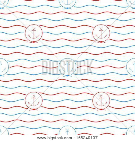 Seamless Pattern with Anchor Emblem,  Anchor on a Background of Red and Blue Waves, Seamless Pattern with Marine Element