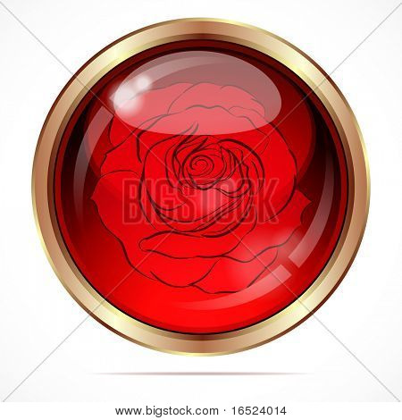 Bright button with a red rose flower.