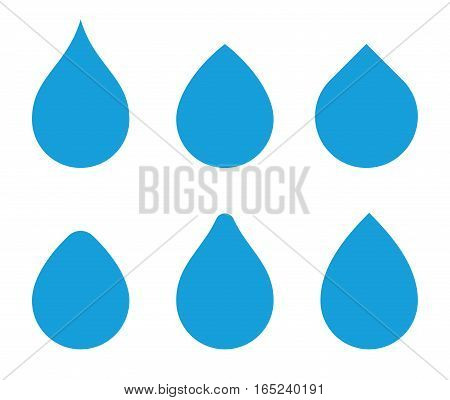 Water drop vector shape set. Waterdrop icons. Aqua droplet s templates for logo.
