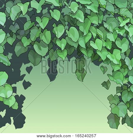 cartoon background of dense pendulous green foliage
