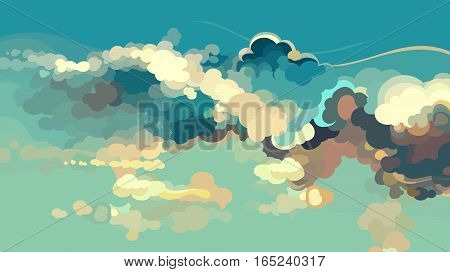 cartoon drawn blue sky with colorful clouds
