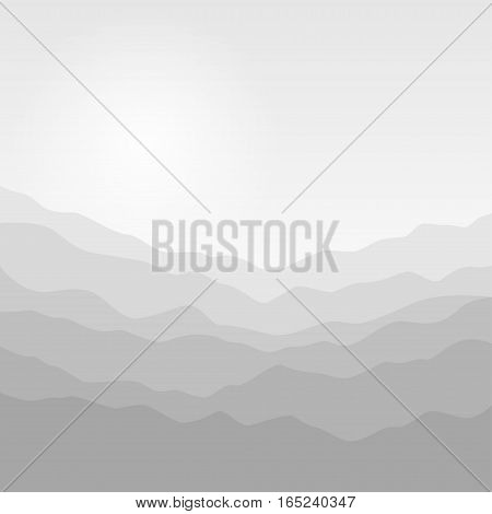 Mountain Landscape, Mountain Ranges in Shades of Gray, Misty Mountains Waves