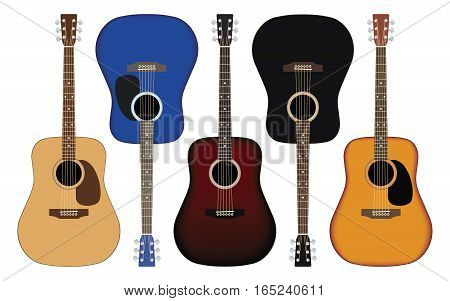 Set of acoustic guitars in different colors. Vector illustration.