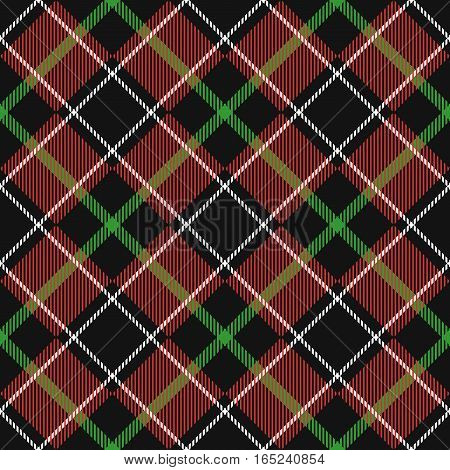 Seamless Pattern Similar to the Scottish Tartan. Executed in Black and Red Colors.