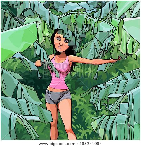 cartoon woman in a thicket of palm leaves