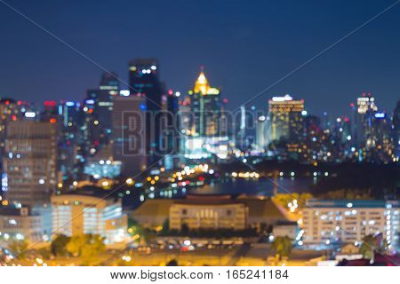 Blurred lights aerial view city office building abstract background