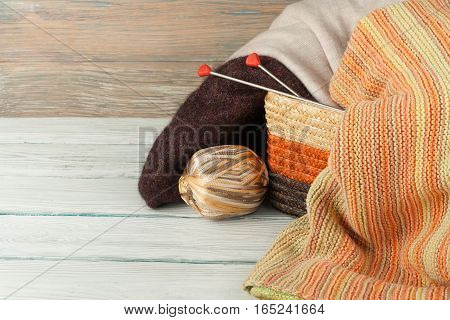 Knitted background with knitting needle and ball of yarn knit is hobby leisure activities of many people in free time also make many handmade product
