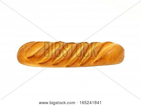 Food, Junk-food, Diet And Unhealthy Eating Concept - White Bread Or Baguette Isolated On White Backg