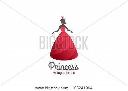 Woman in Red Dress with Crown Logo design vector template. Fashion Clothes Boutique shop store Logotype concept icon.