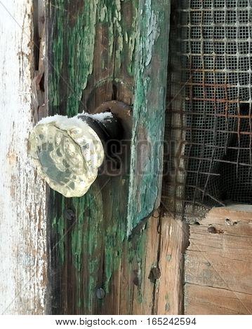 Old glass door handle on a dilapidated, moldy screen door.