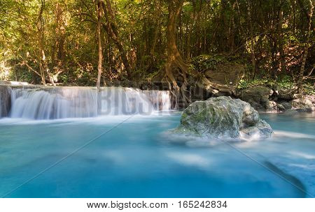 Deep forest blue stream waterfall natural landscape background