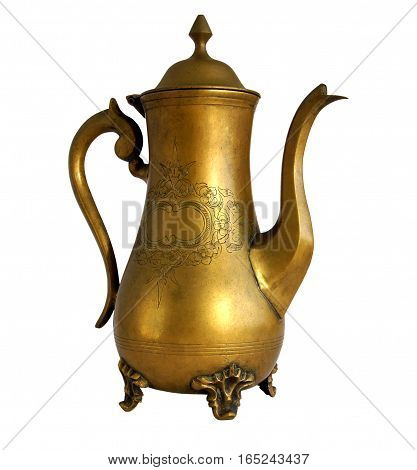 Antique brass coffeepot with a pattern isolated on white background