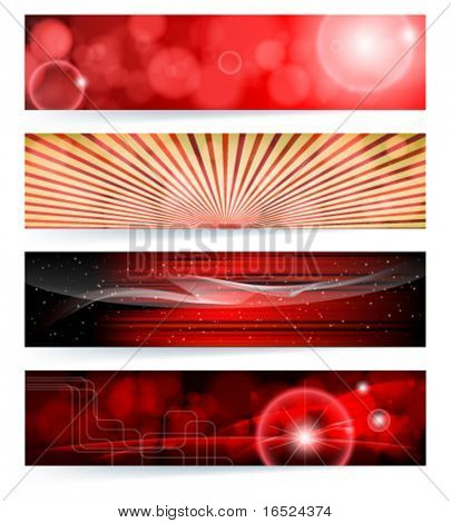 Vector set of abstract banners. Red Design. EPS10 Vector Background.