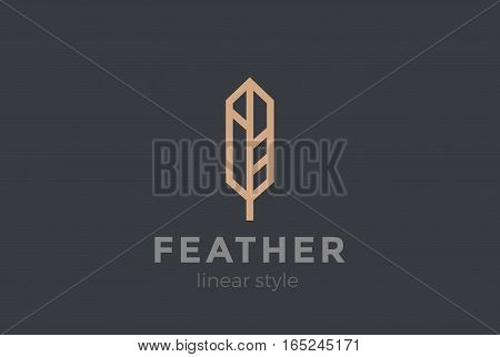Quill Feather Pen Logo design vector template Geometric Linear style.