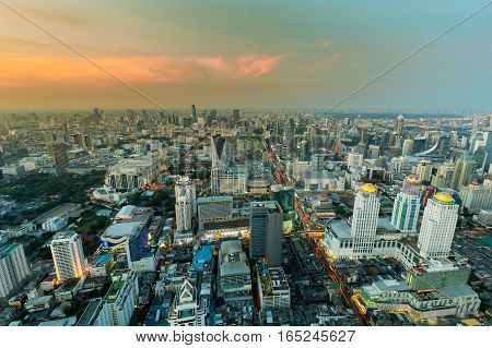 Top view Bangkok city central business downtown with sunset skyline background Thailand