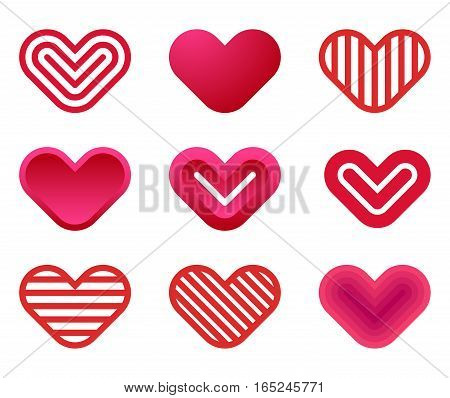 Heart shapes collection design vector template. St. Valentine day of love. Cardiology Medical Health care Logotype concept icons.