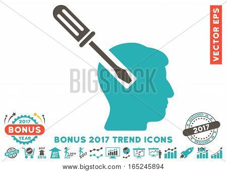 Grey And Cyan Head Screwdriver Tuning pictograph with bonus 2017 trend pictograph collection. Vector illustration style is flat iconic bicolor symbols white background.