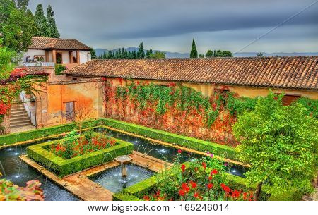 Generalife Palace in Granada - Spain, Andalusia. UNESCO heritage site