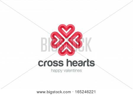 Heart Star Flower Logo design vector template. St. Valentine day of love Party. Cardiology Medical Health care Cross Logotype concept icon.