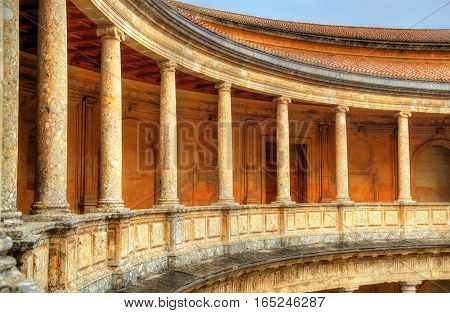 Atrium with columns at the Palace of Charles V, Alhambra fortress in Granada - Spain