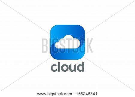 Cloud computing Logo design vector template. Data Storage network technology logotype. Button app icon.