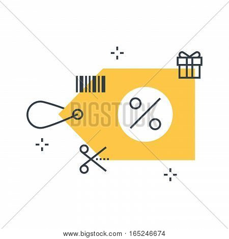 Color Line, Discount Tag Illustration Concept Illustration, Icon