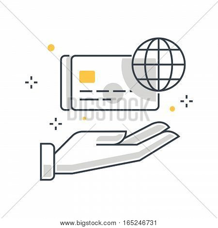 Color Line, Credit Card Illustration Concept Illustration, Icon