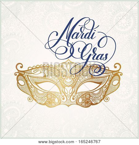 gold venetian carnival mask with hand lettering isolated on white floral pattern background, calligraphy vector illustration