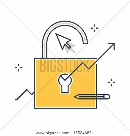 Color Line, Growth Hacking Illustration Concept Illustration, Icon