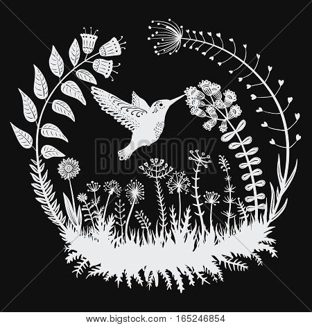 Vector illustration. Stylized hummingbird drinking nectar from the flower. Exotic bird. Line art. Black and white drawing. Tattoo.