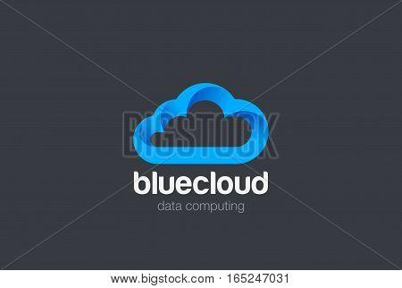 Cloud computing Logo design vector template. Data Storage network technology logotype icon.