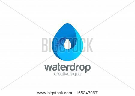 Water drop Logo design 3D vector template. Waterdrop icon. Infinite Aqua droplet Logotype idea.