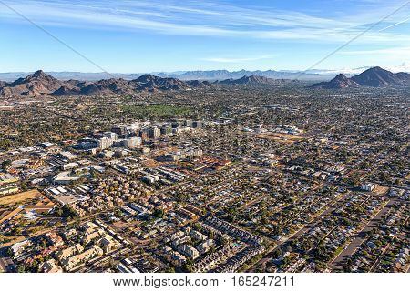 Morning sun on the desert landscape of Phoenix Arizona near the Camelback corridor viewed from above