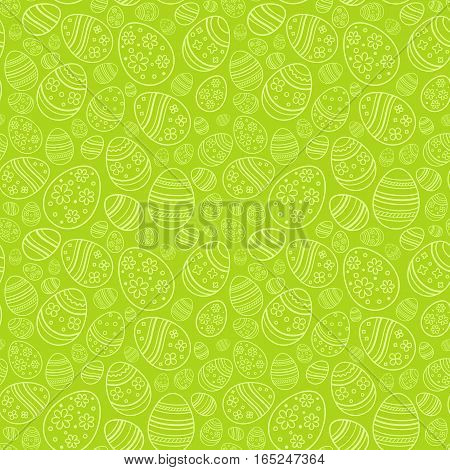 Vector seamless simple pattern with ornamental eggs. Easter holiday green background for printing on fabric, paper for scrapbooking, gift wrap.