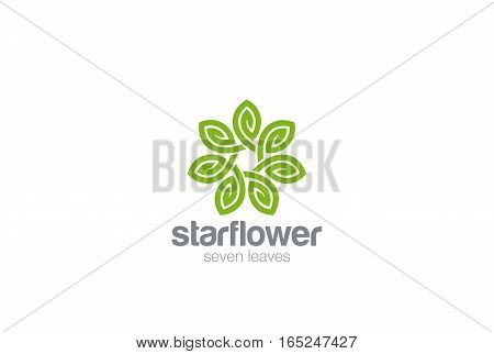 Green Leaves Star Flower Logo design Infinity loop vector template. Eco Natural Organic Logotype concept icon.