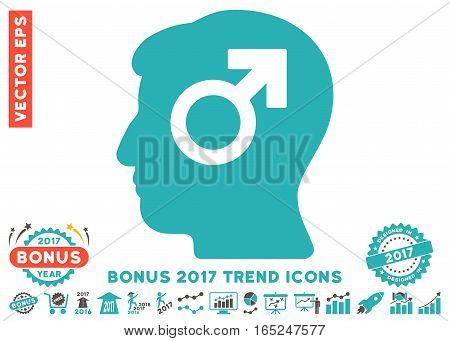 Grey And Cyan Mind Potency pictogram with bonus 2017 trend icon set. Vector illustration style is flat iconic bicolor symbols white background.