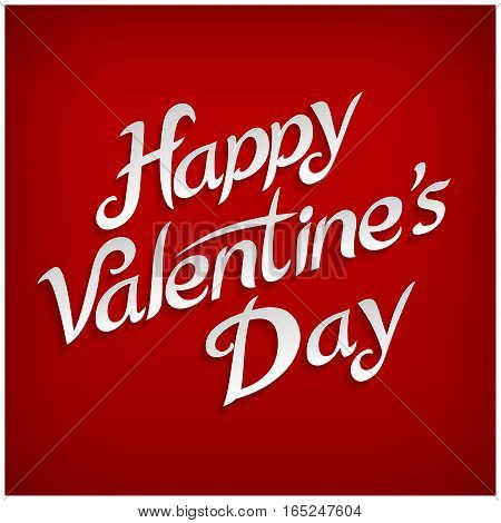 Happy Valentines Day Inscription On Red