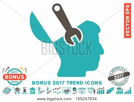 Grey And Cyan Mind Wrench Surgery pictogram with bonus 2017 year trend symbols. Vector illustration style is flat iconic bicolor symbols white background.