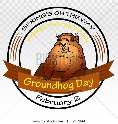 Groundhog Day. Vector illustration. Round label on a white background.