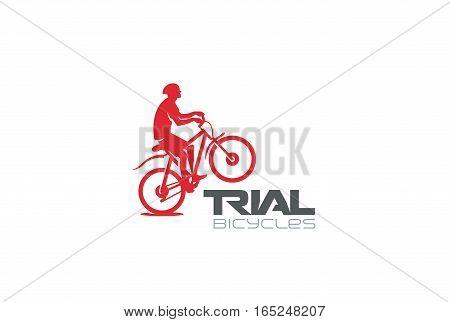Trial Mountain Bike Rider silhouette Logo design vector template. Extreme sports biker jumping concept icon. Bicycle store shop Logotype.