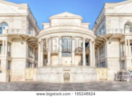 Defocused Background With Scenic Building In Central Sevastopol, Crimea