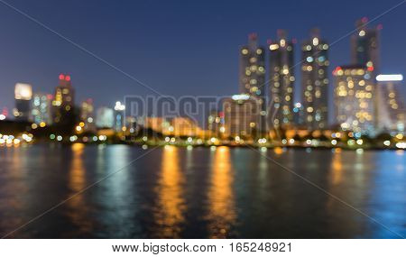 Night light office building with reflection abstract background