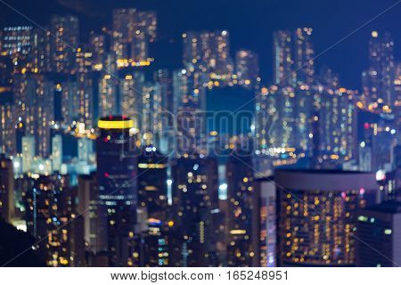 Night blurred lights Hong Kong residence over high hill abstract background